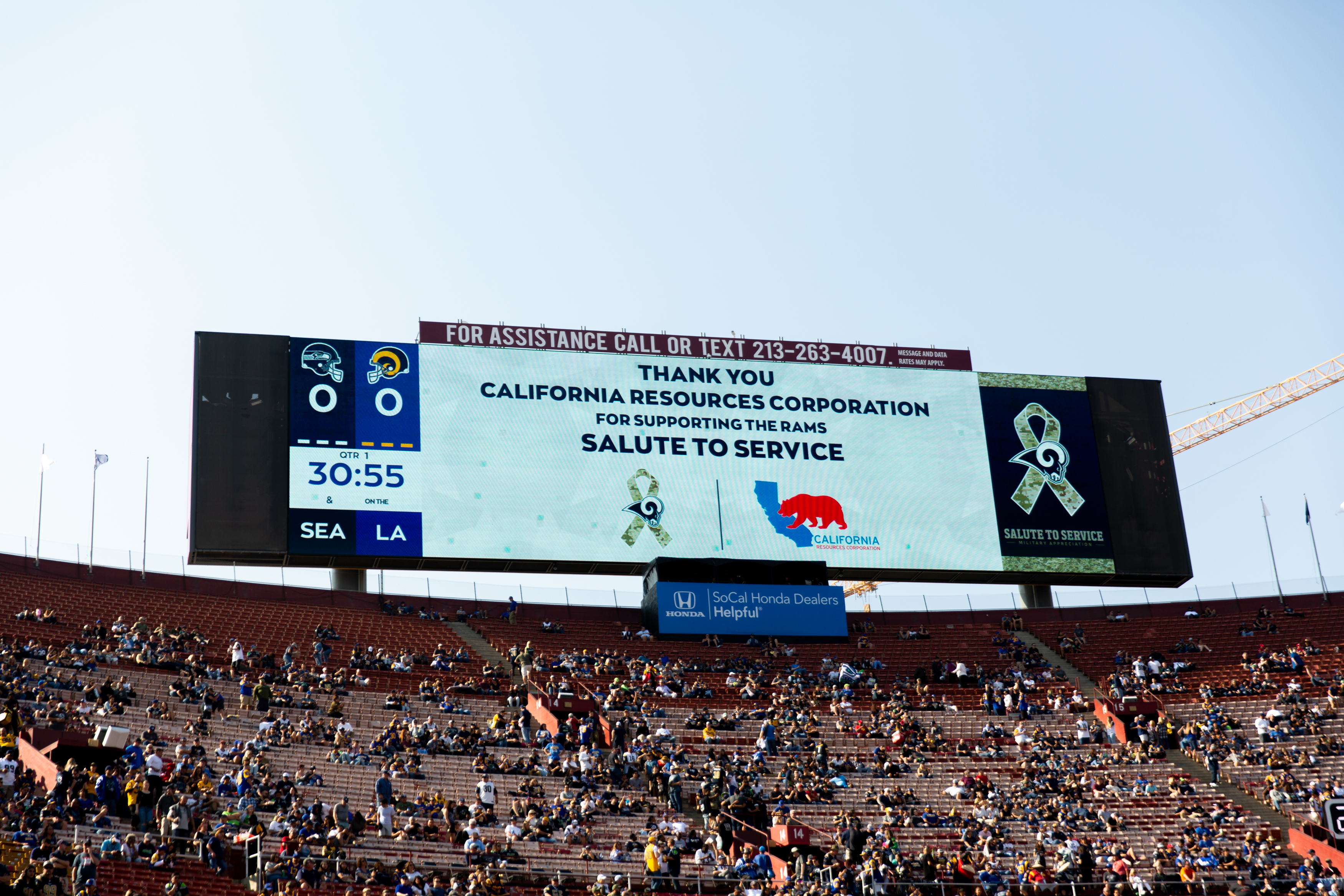 The LA Rams thank CRC for supporting veterans